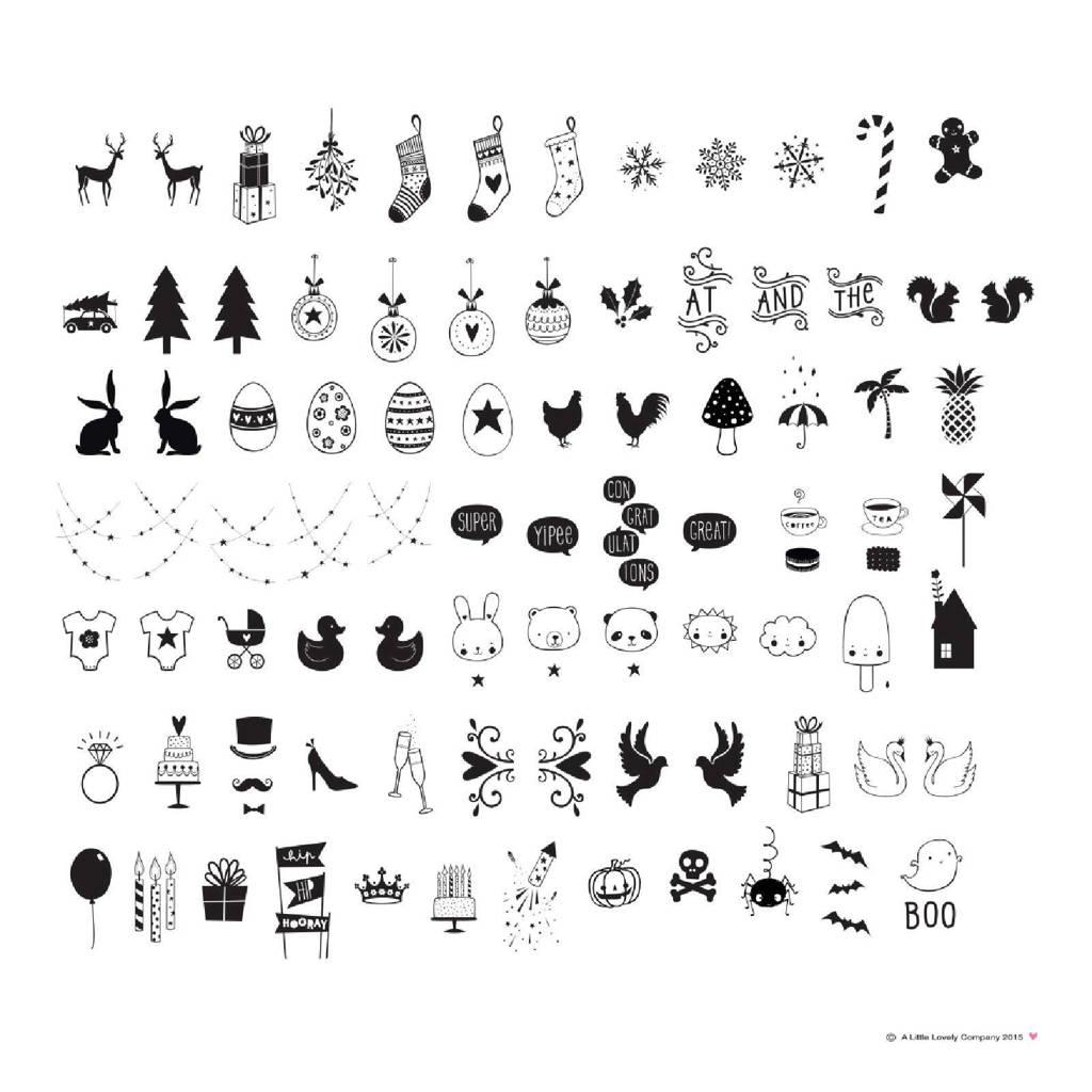 A Little Lovely Company lightbox letterset Celebrations Symbolen, Zwart