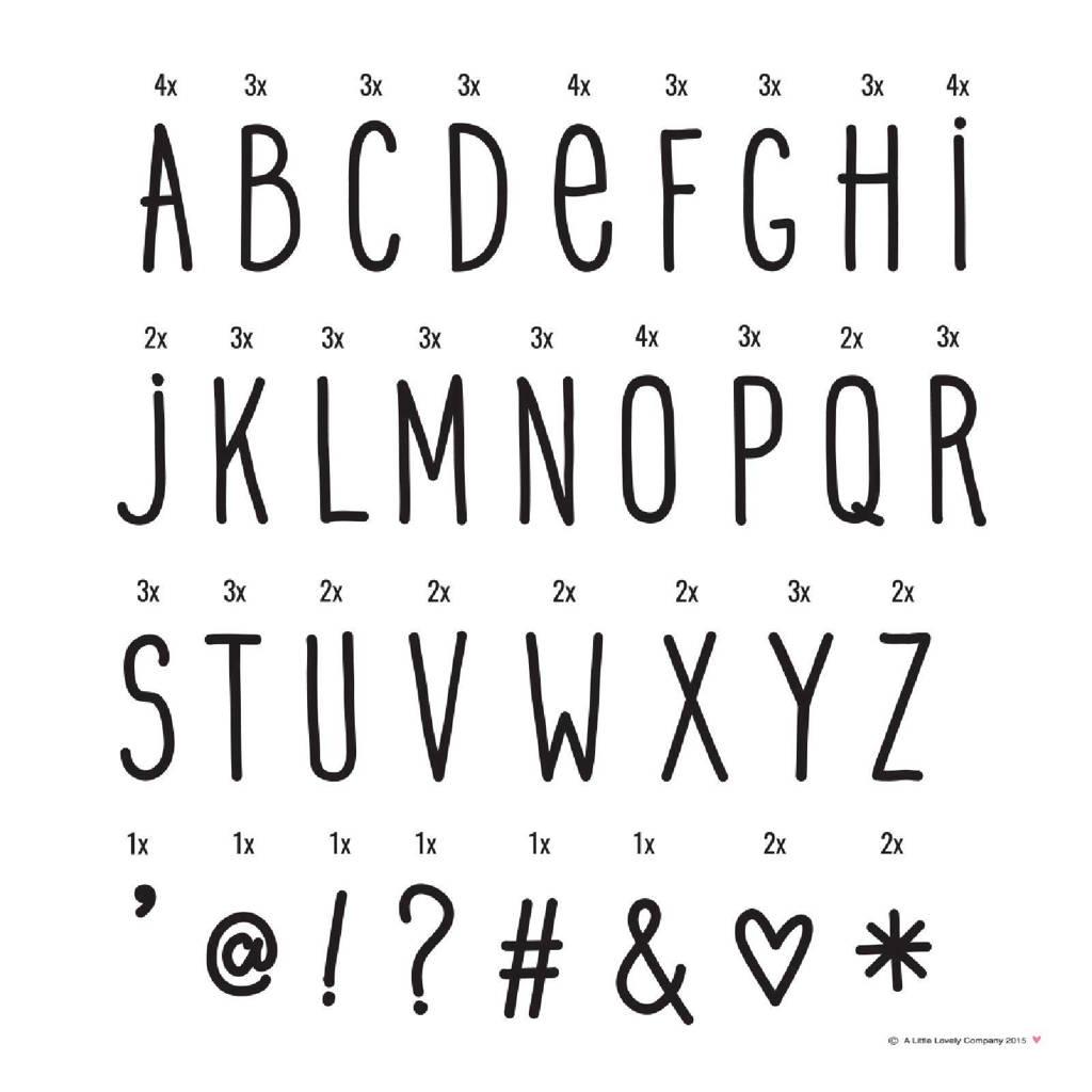 A Little Lovely Company lightbox letterset Hand drawn, Zwart
