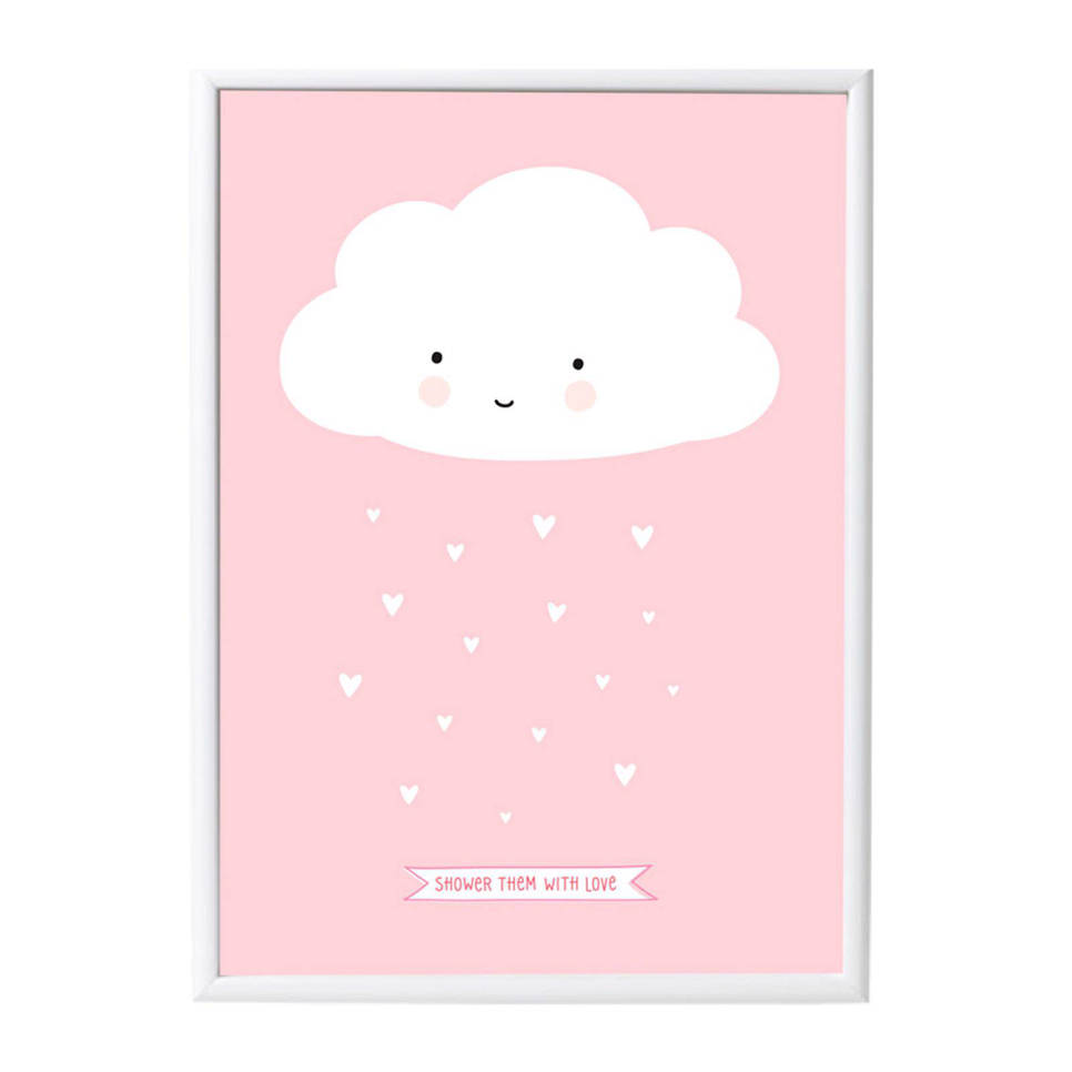 A Little Lovely Company poster Wolkje (50x70 cm) , Roze, wit