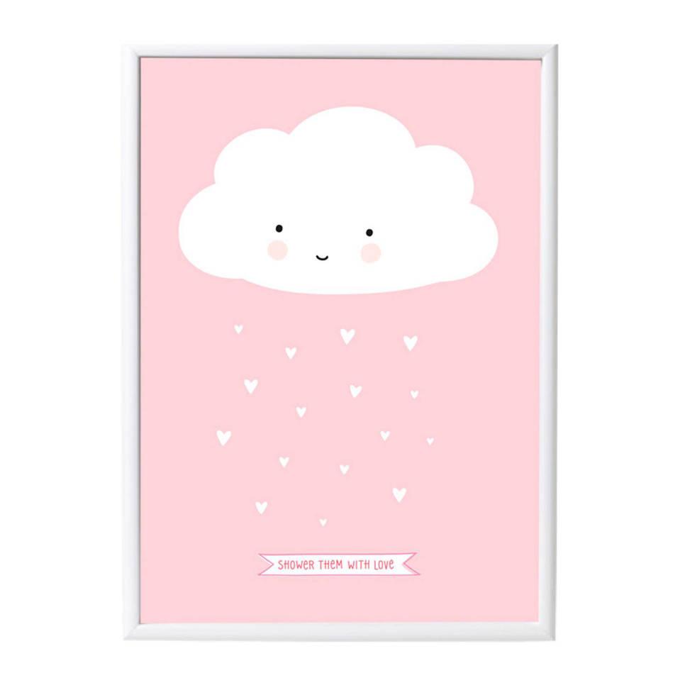 A Little Lovely Company poster Wolkje (50x70 cm) , Roze, wit