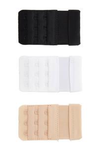 MAGIC Bodyfashion 3-haaks bh verlenger (set van 3), Zwart/wit/lichte huidskleur