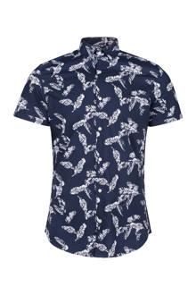 slim fit overhemd met bladeren donkerblauw