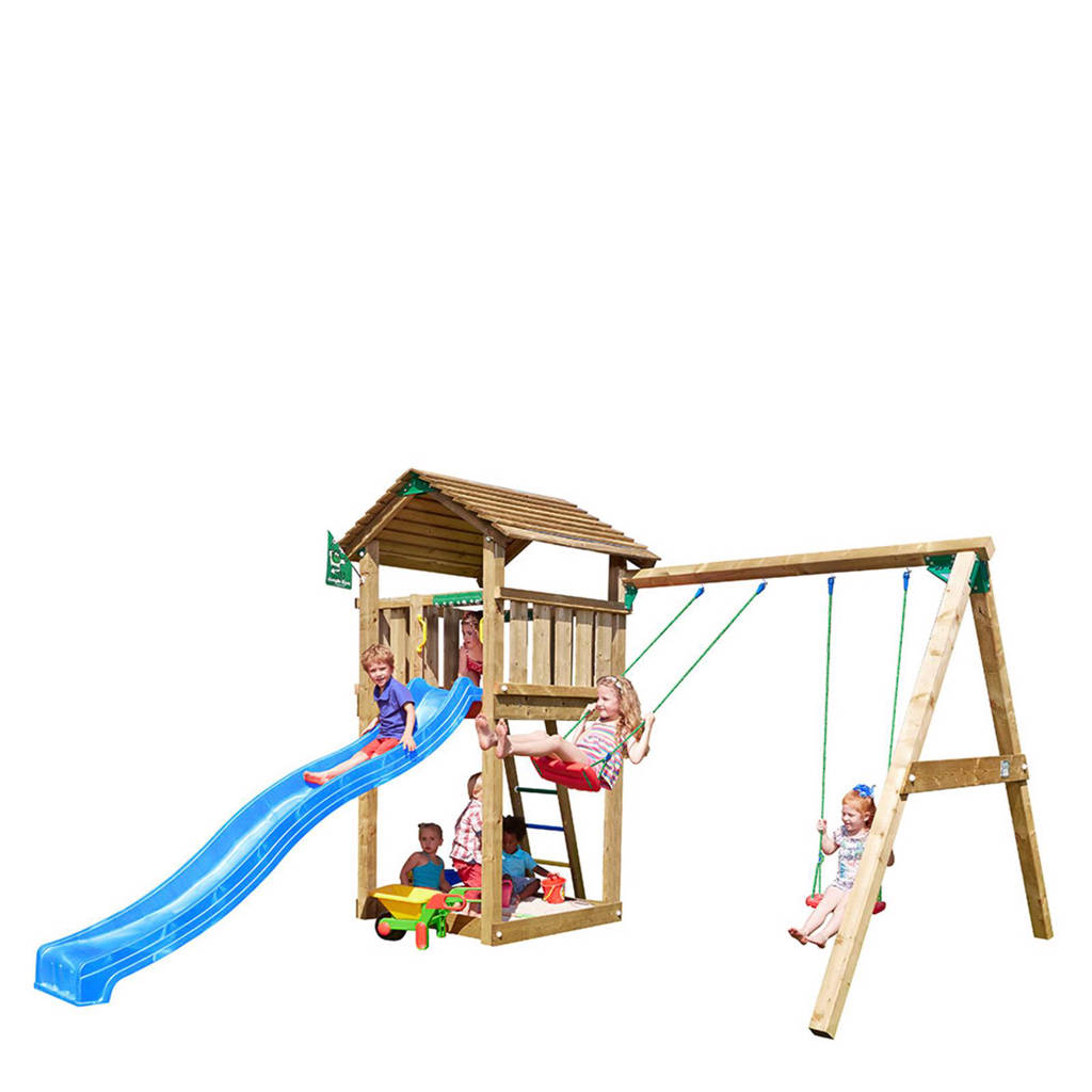 Jungle Gym Cottage + swing module speeltoestel, Blauw