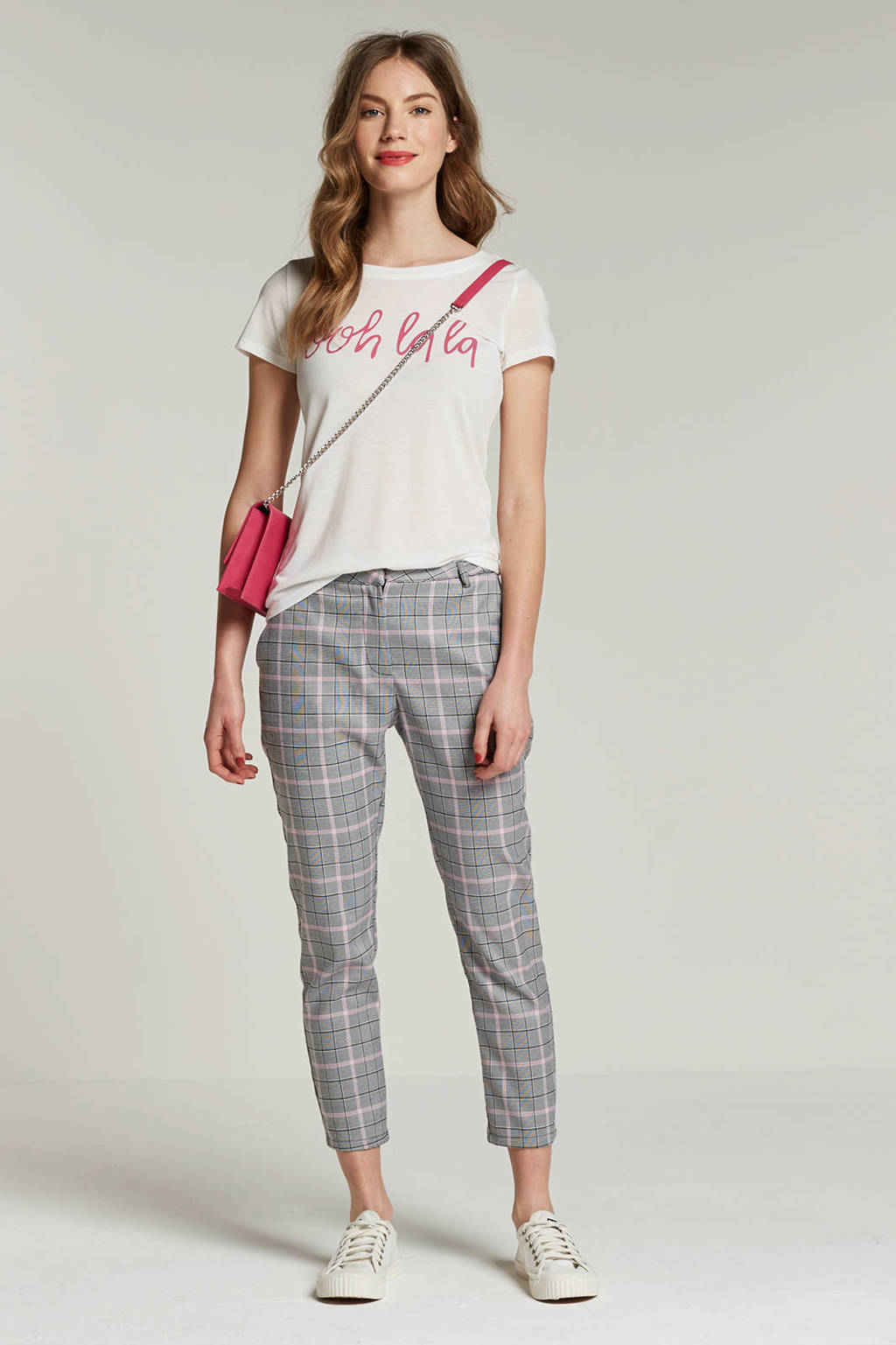 JACQUELINE DE YONG T-shirt met tekst, Ecru/roze