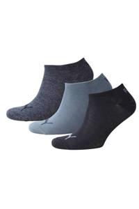 Puma   sneakersokken (set van 3), Denimblauw/grijsblauw/marine