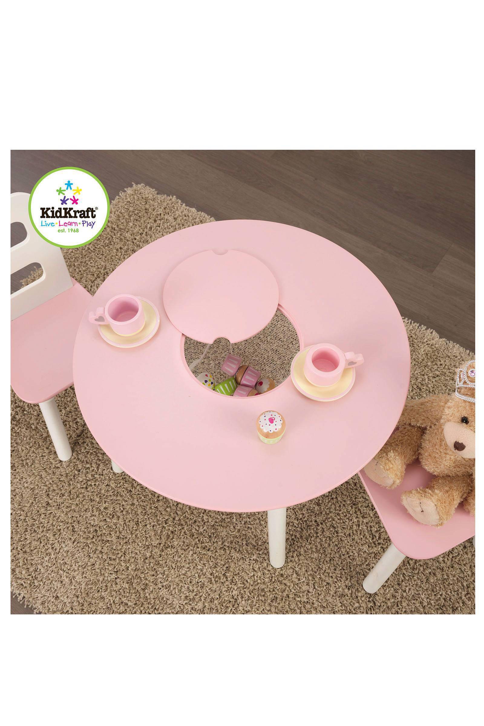 houten ronde opbergtafel met stoelen witroze