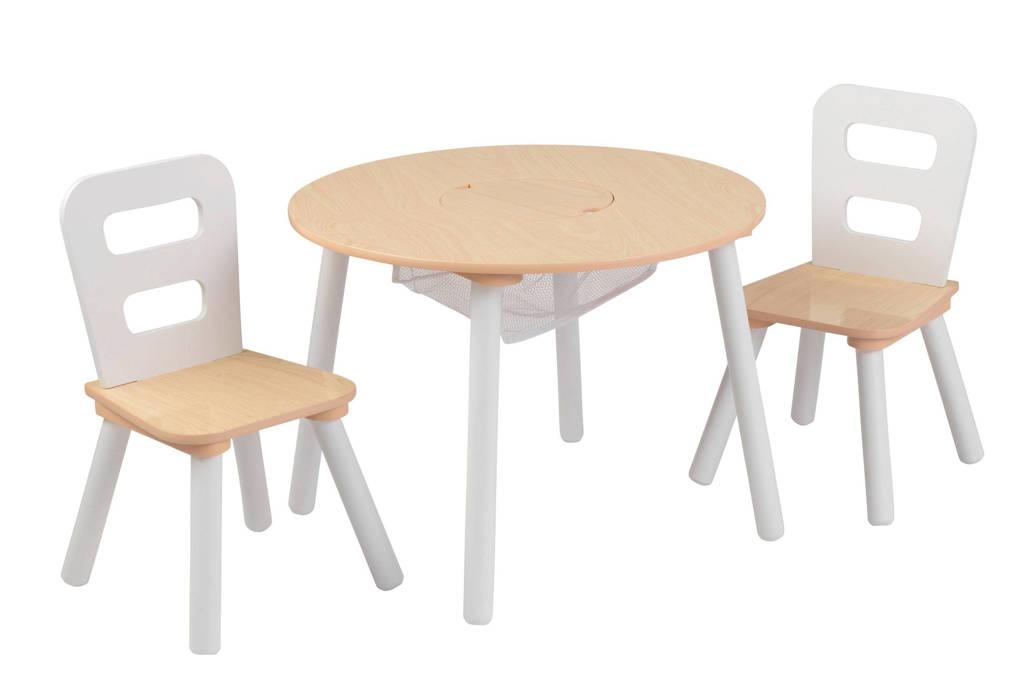 KidKraft houten ronde opbergtafel en 2 stoelen, Wit/hout