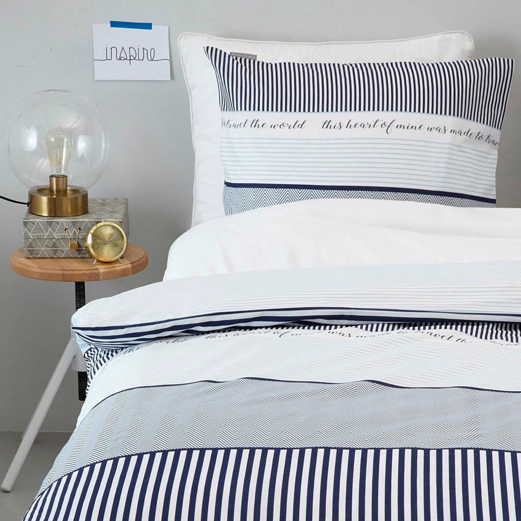 Riviera Maison katoenen dekbedovertrek lits jumeaux, Lits-jumeaux (240 cm breed), Blauw/wit