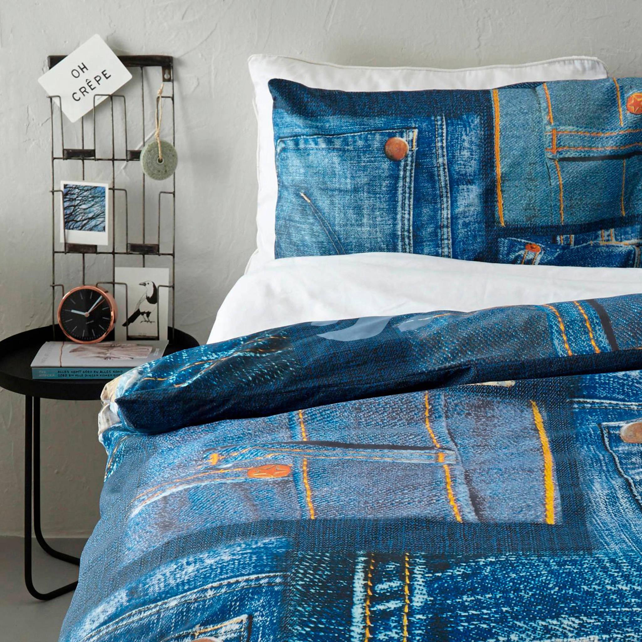 good morning katoenen dekbedovertrek 1 persoons blauw