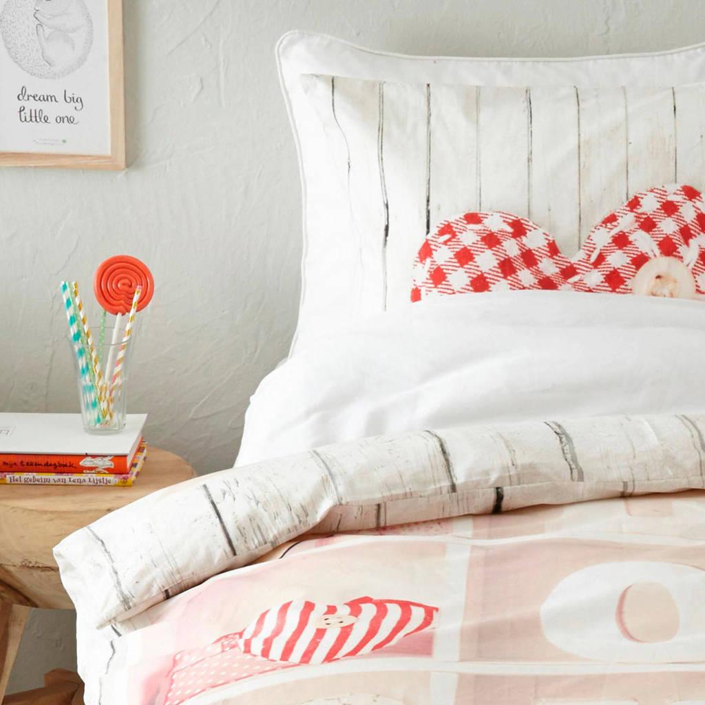 Good Morning katoenen dekbedovertrek 1 persoons, roze/rood/wit/grijs