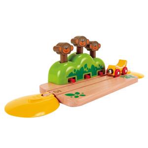 houten spoorwegset met springende apen