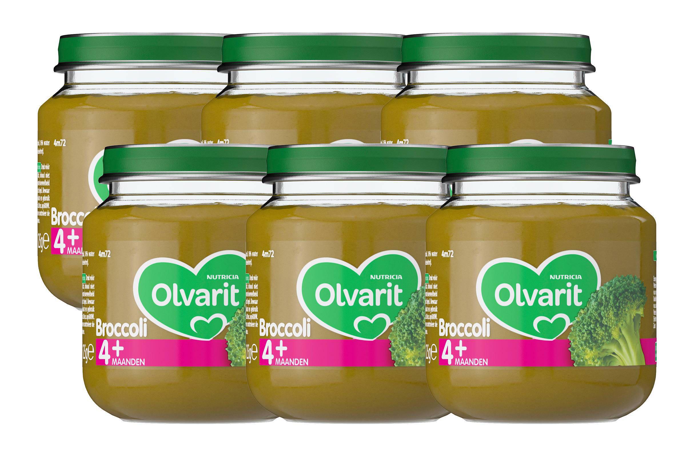 Olvarit babyvoeding broccoli 4+ mnd (6 x 125 gram)