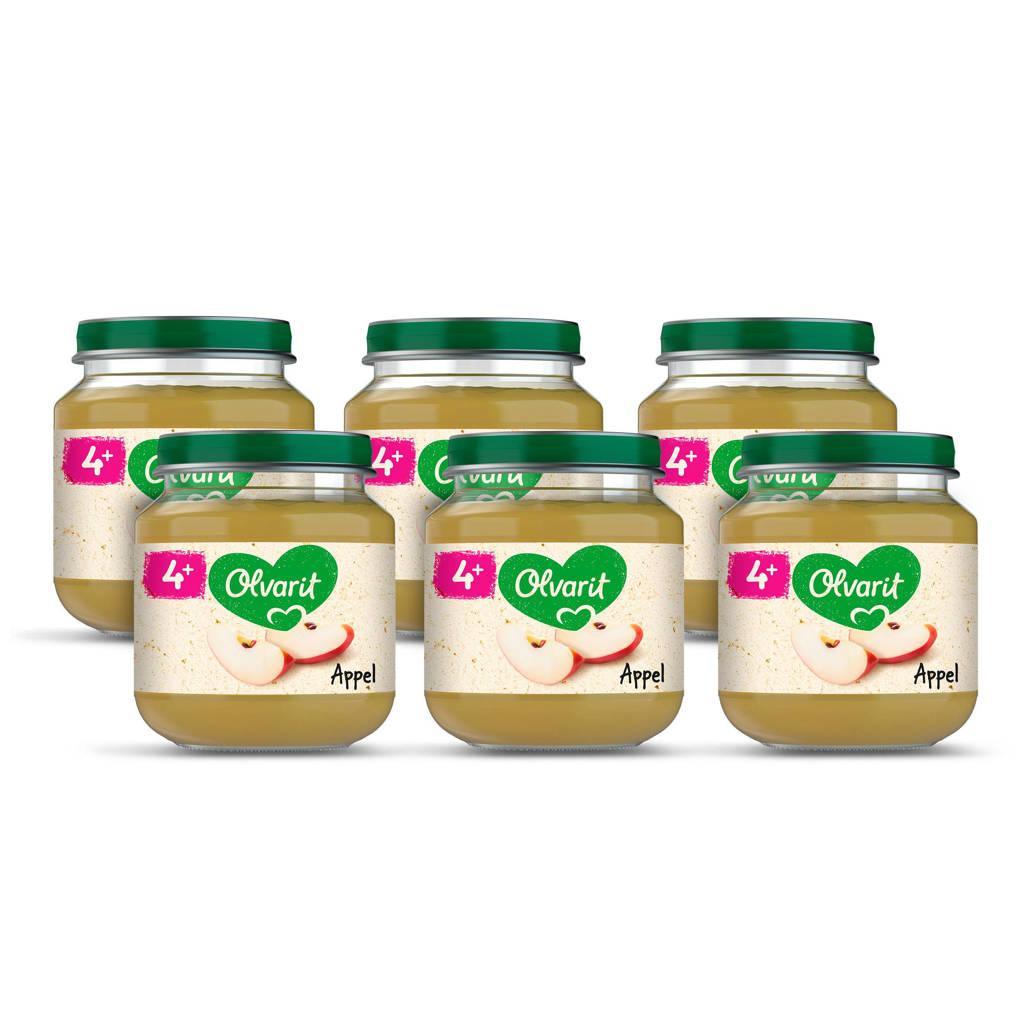 Olvarit Appel - fruithapje voor baby's vanaf 4+ maanden - 6x125 gram babyvoeding in een fruitpotje