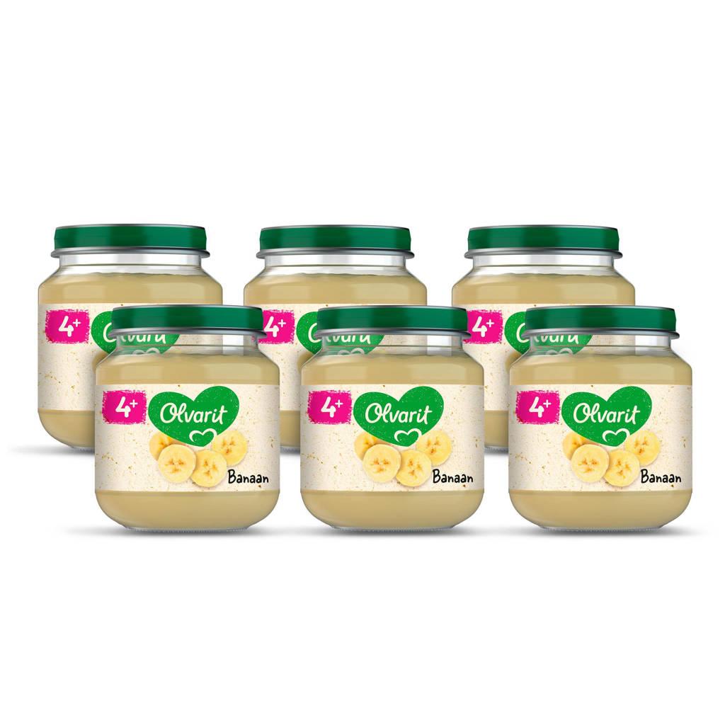 Olvarit babyvoeding banaan 4+ mnd (6 x 125 gram)