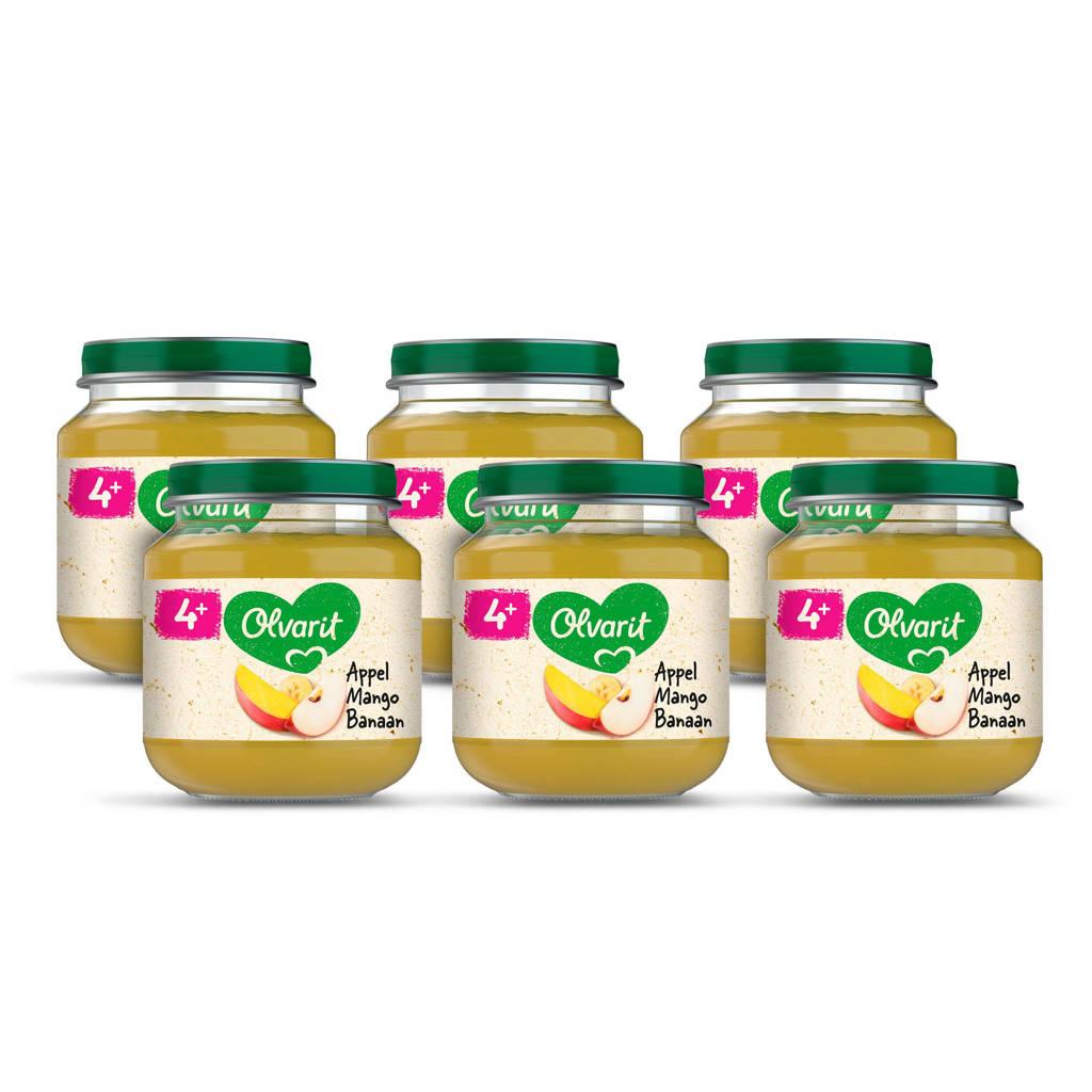 Olvarit babyvoeding appel mango banaan 4+ mnd (6 x 125 gram)