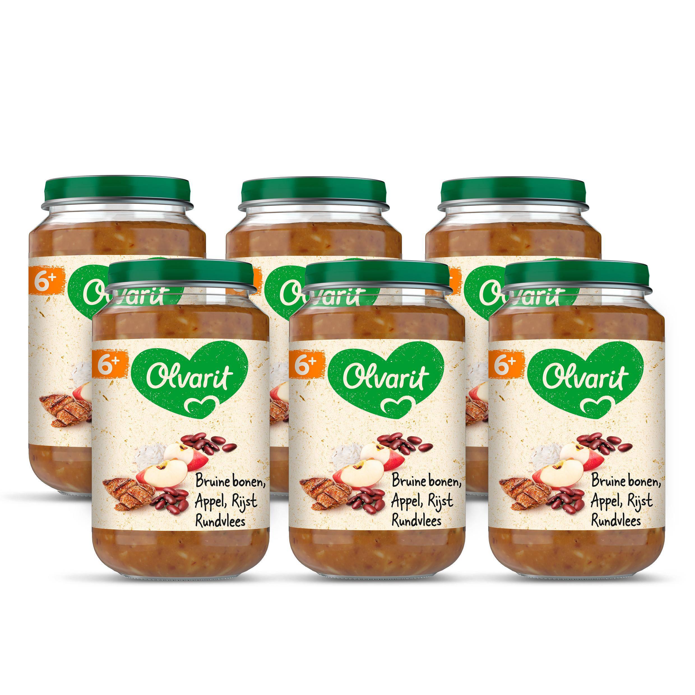 Olvarit bruine bonen appel rundvlees rijst 6+ mnd (6 x 200 gram)