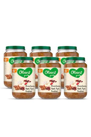 babyvoeding bruine bonen appel rundvlees rijst 6+ mnd (6 x 200 gram)