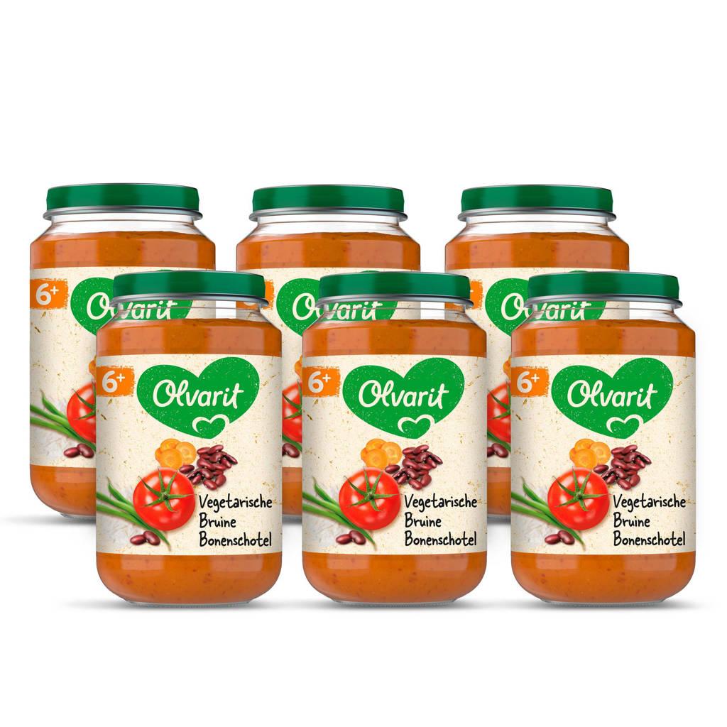 Olvarit Vegetarische Bruine Bonenschotel - babyhapje voor baby's vanaf 6+ maanden - 6x200 gram babyvoeding in een maaltijdpotje