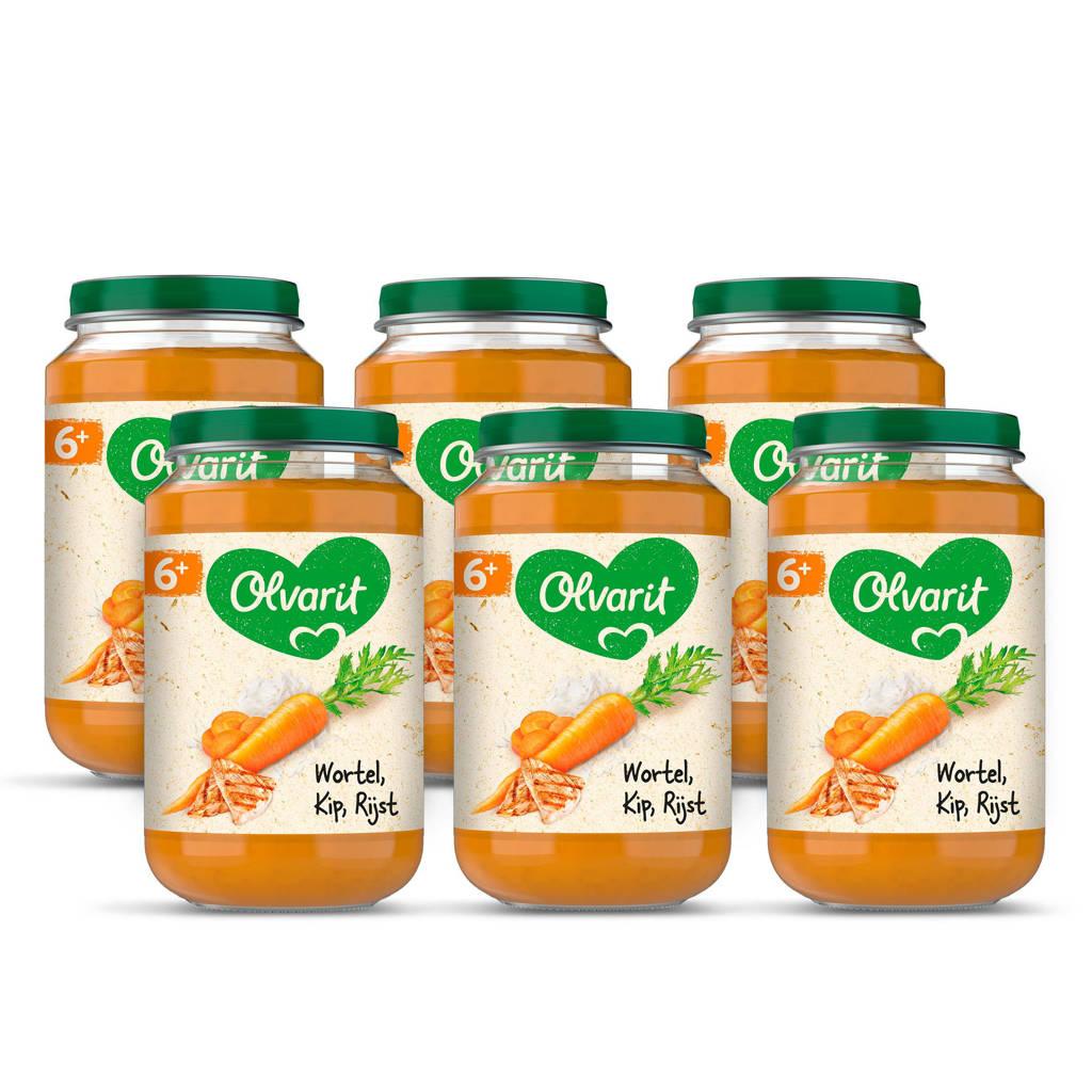 Olvarit babyvoeding wortel kip rijst 6+ mnd (6 x 200 gram)