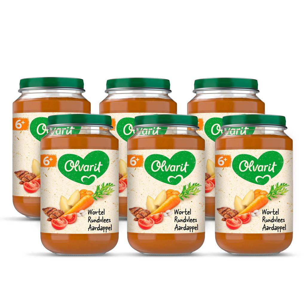 Olvarit Wortel Rundvlees Aardappel - babyhapje voor baby's vanaf 6+ maanden - 6x200 gram babyvoeding in een maaltijdpotje