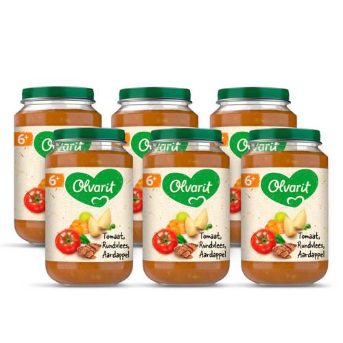 Olvarit babyvoeding tomaat rundvlees aardappel wortel 6+ mnd (6 x 200 gram) kopen