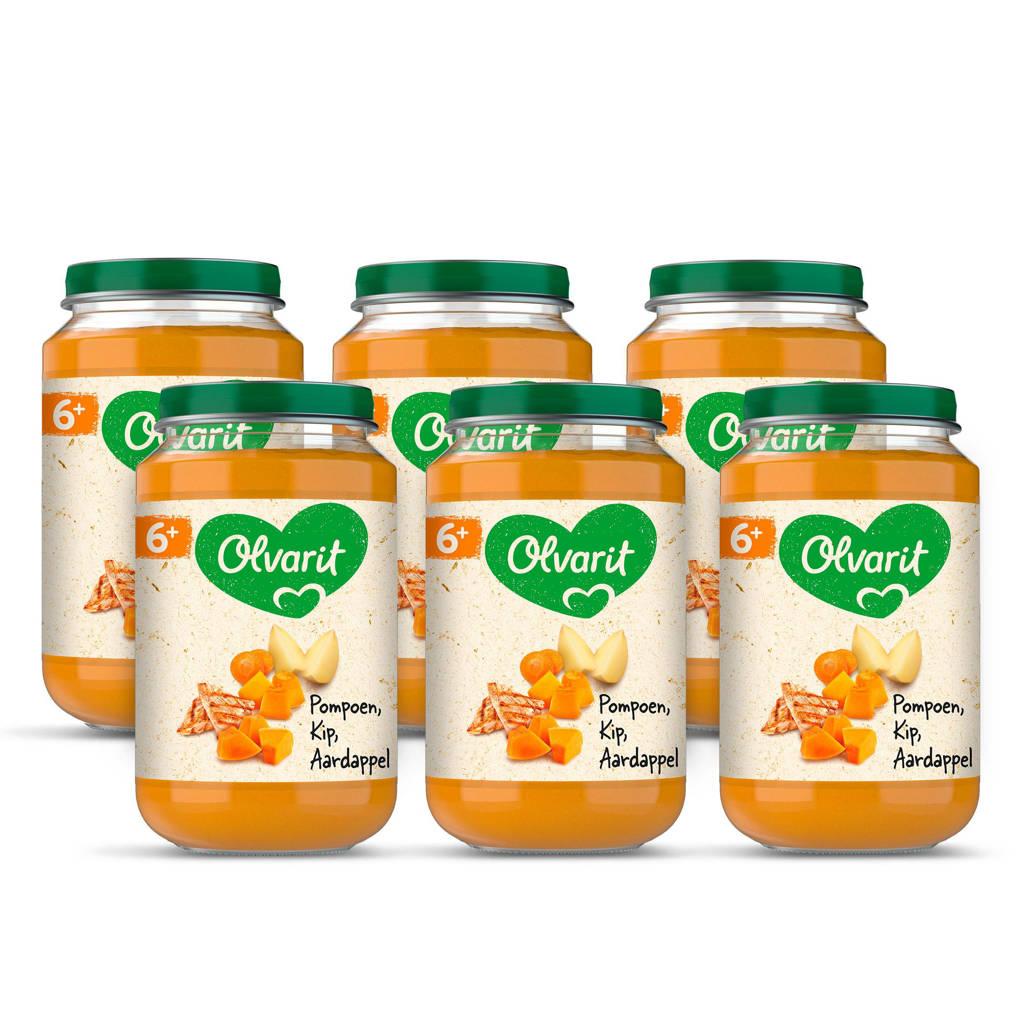 Olvarit Pompoen Kip Aardappel - babyhapje voor baby's vanaf 6+ maanden - 6x200 gram babyvoeding in een maaltijdpotje