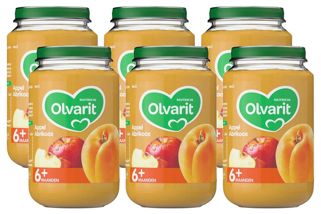 Olvarit babyvoeding appel abrikoos 6+ mnd (6 x 200 gram)