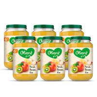 Olvarit Perzik Banaan Kiwi - fruithapje voor baby's vanaf 6+ maanden - 6x200 gram babyvoeding in een fruitpotje