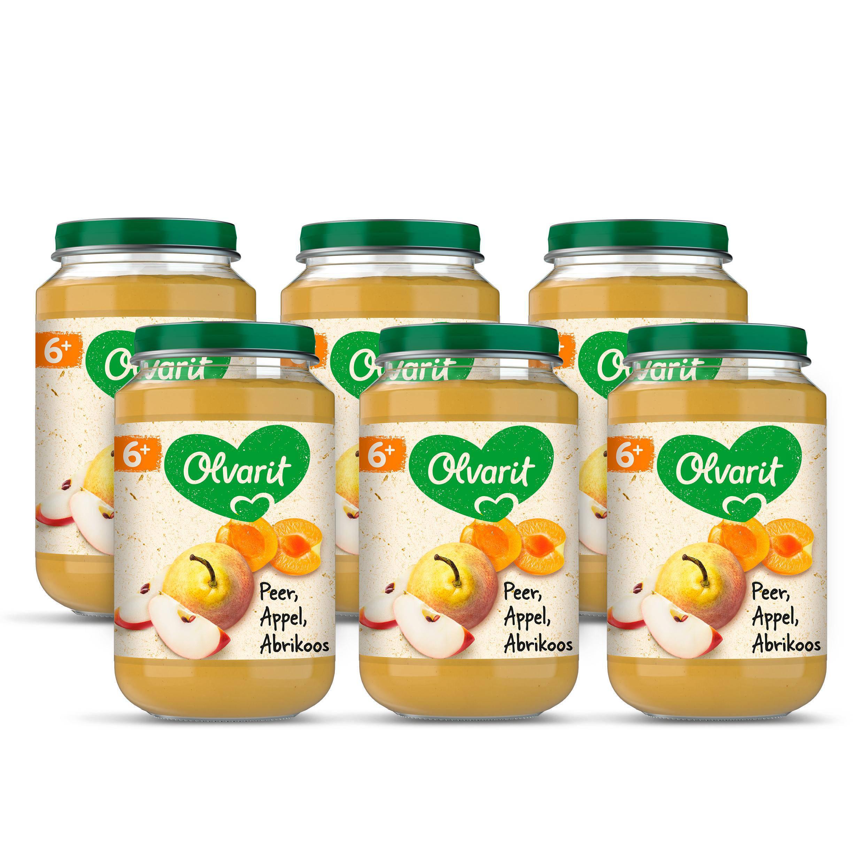 Olvarit babyvoeding peer appel abrikoos 6+ mnd (6 x 200 gram)