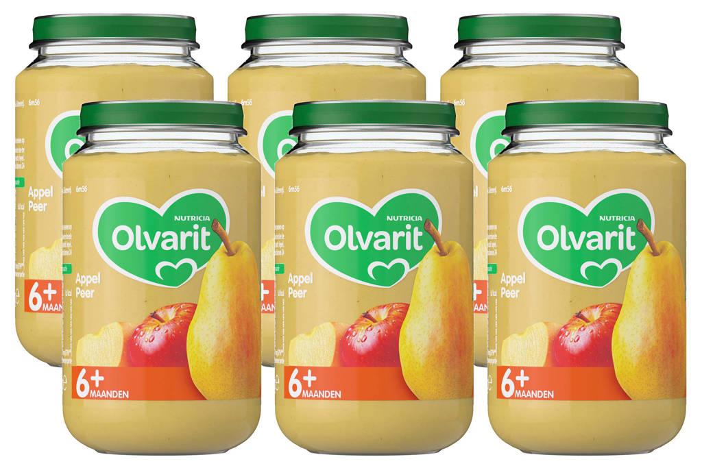 Olvarit babyvoeding appel peer 6+ mnd (6 x 200 gram)