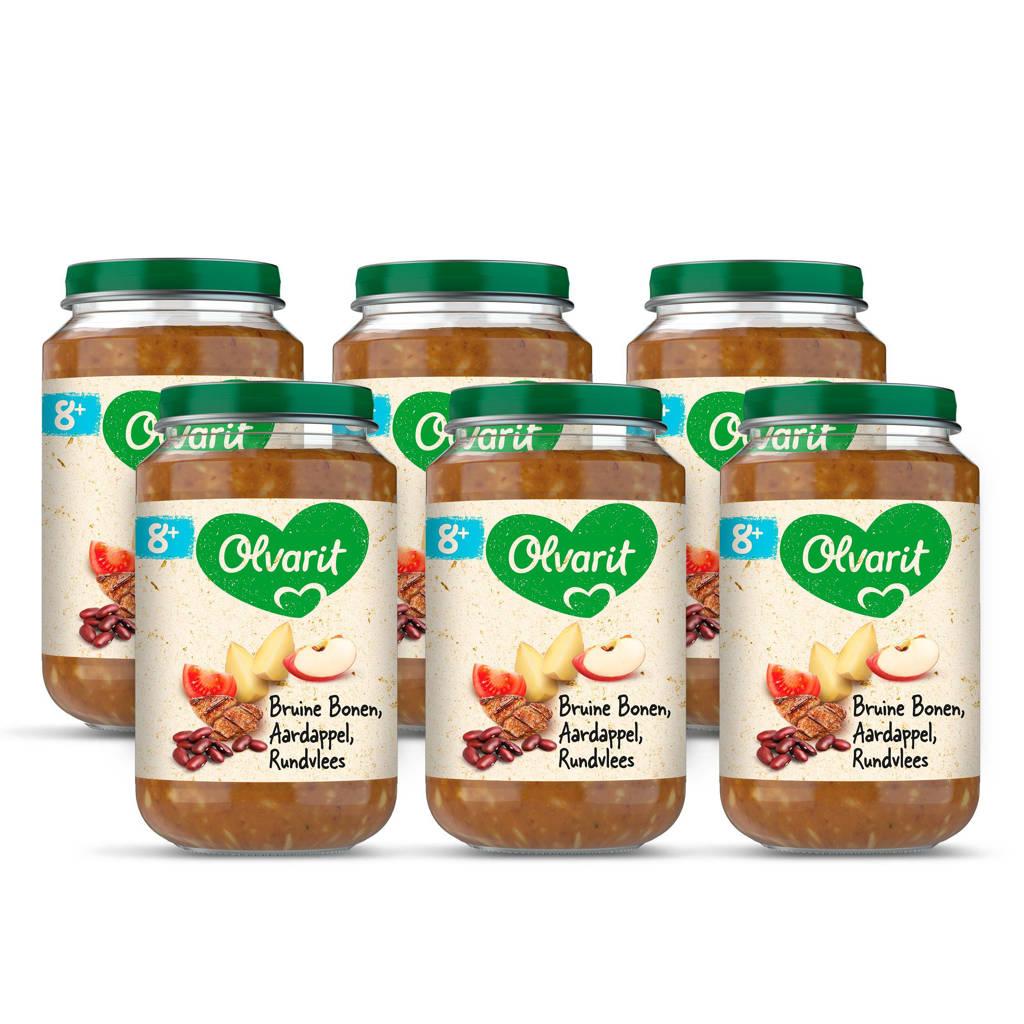 Olvarit babyvoeding bruine bonen appel rundvlees aardappel 8+ mnd (6 x 200 gram)