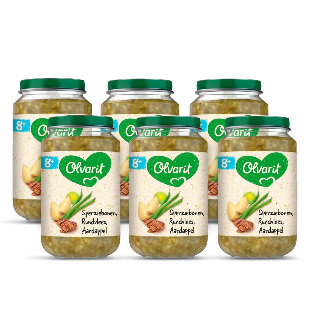 Olvarit Sperziebonen Rundvlees Aardappel - babyhapje voor baby's vanaf 8+ maanden - 6x200 gram babyvoeding in een maaltijdpotje