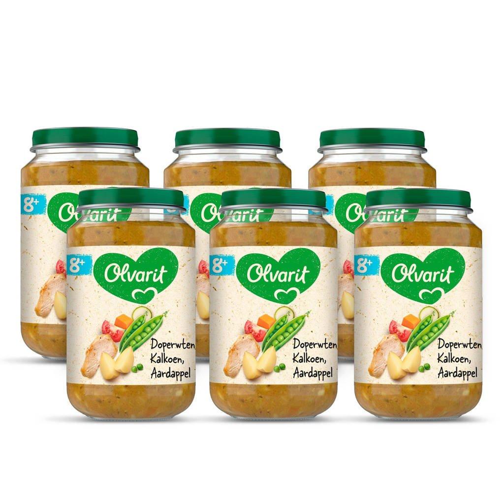 Olvarit Doperwten Kalkoen Aardappel - babyhapje voor baby's vanaf 8+ maanden - 6x200 gram babyvoeding in een maaltijdpotje