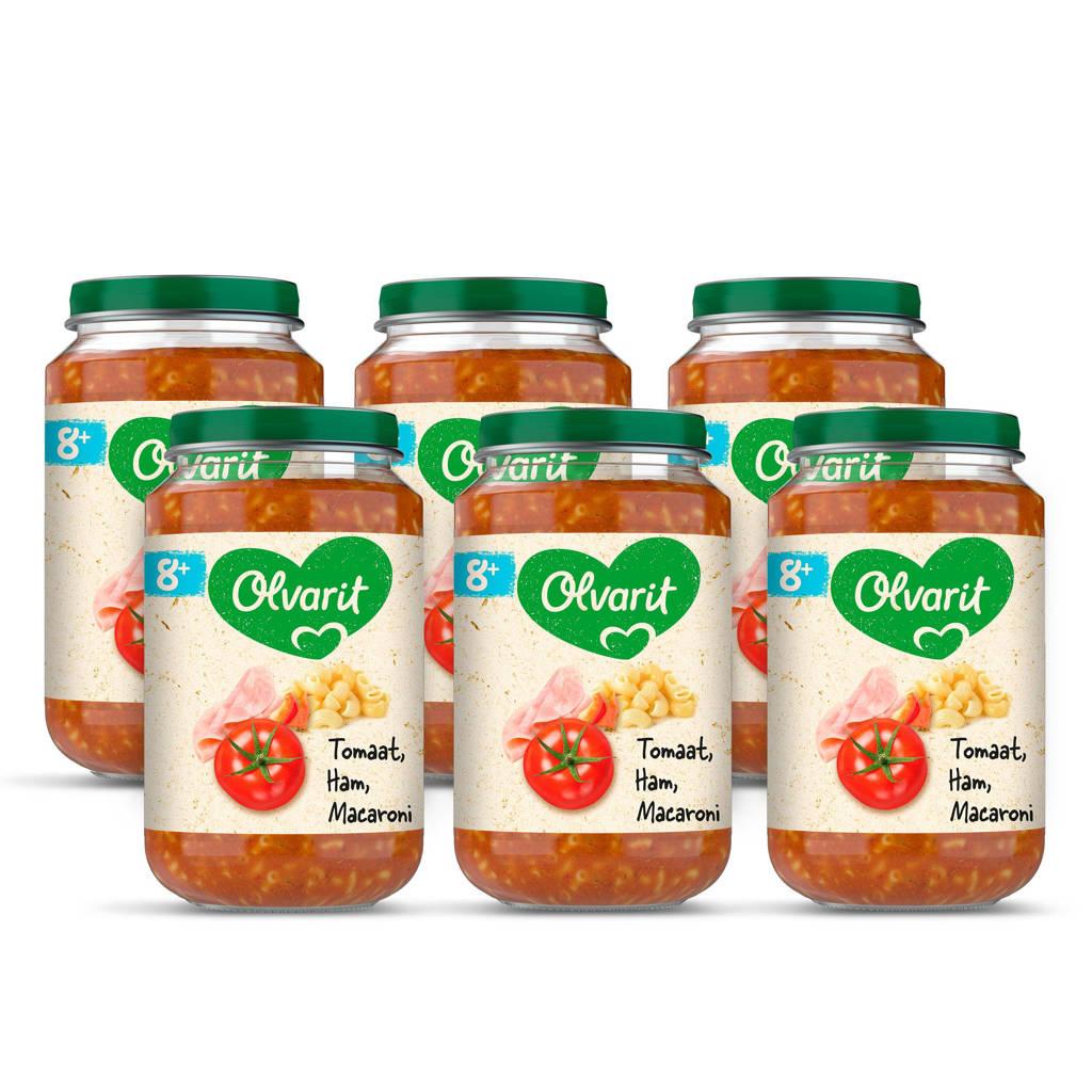 Olvarit babyvoeding tomaat ham macaroni 8+ mnd (6 x 200 gram)