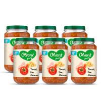 Olvarit Tomaat Ham Macaroni - babyhapje voor baby's vanaf 8+ maanden - 6x200 gram babyvoeding in een maaltijdpotje