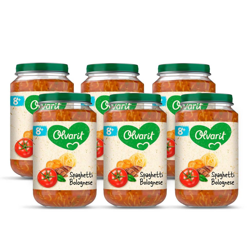 Olvarit Spaghetti Bolognese - babyhapje voor baby's vanaf 8+ maanden - 6x200 gram babyvoeding in een maaltijdpotje
