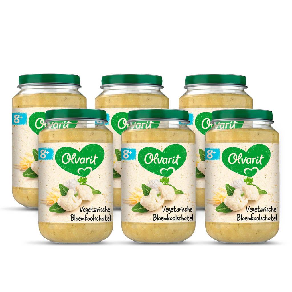 Olvarit Bloemkoolschotel - babyhapje voor baby's vanaf 8+ maanden - 6x200 gram babyvoeding in een maaltijdpotje