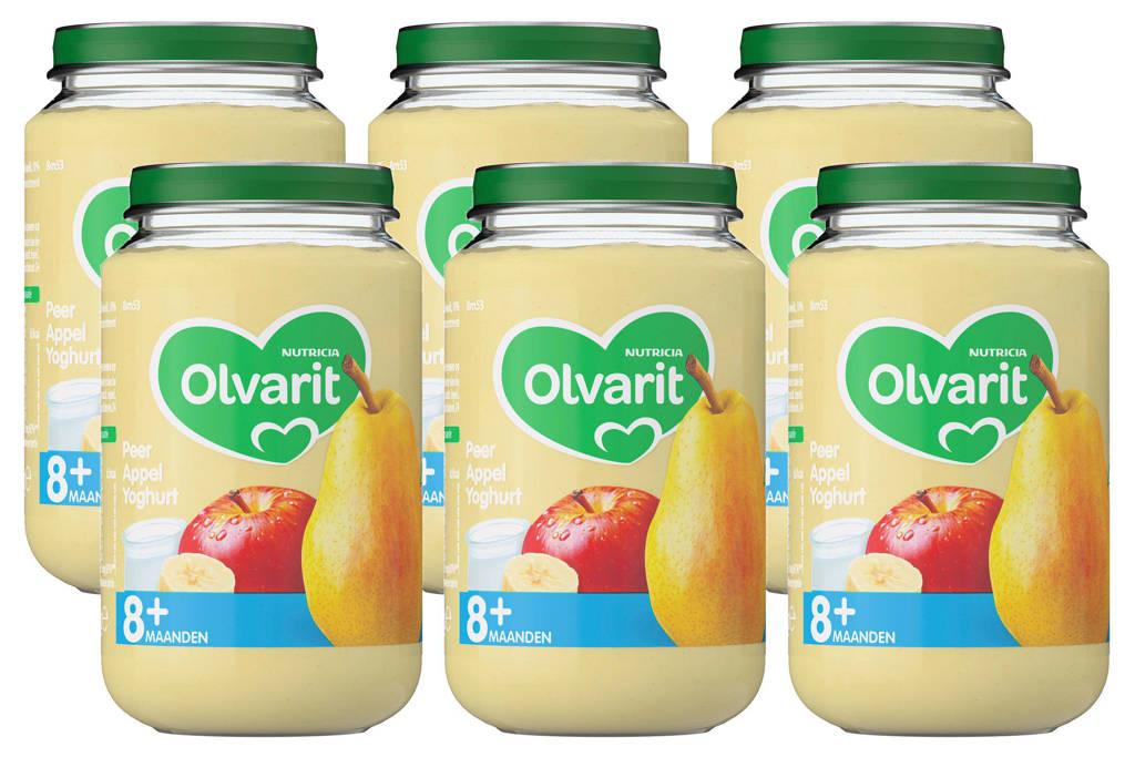 Olvarit Peer Appel Yoghurt - fruithapje voor baby's vanaf 8+ maanden - 6x200 gram babyvoeding in een fruitpotje