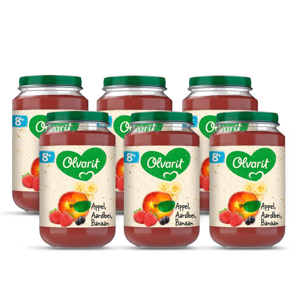 Olvarit Appel Aardbei Banaan - fruithapje voor baby's vanaf 8+ maanden - 6x200 gram babyvoeding in een fruitpotje