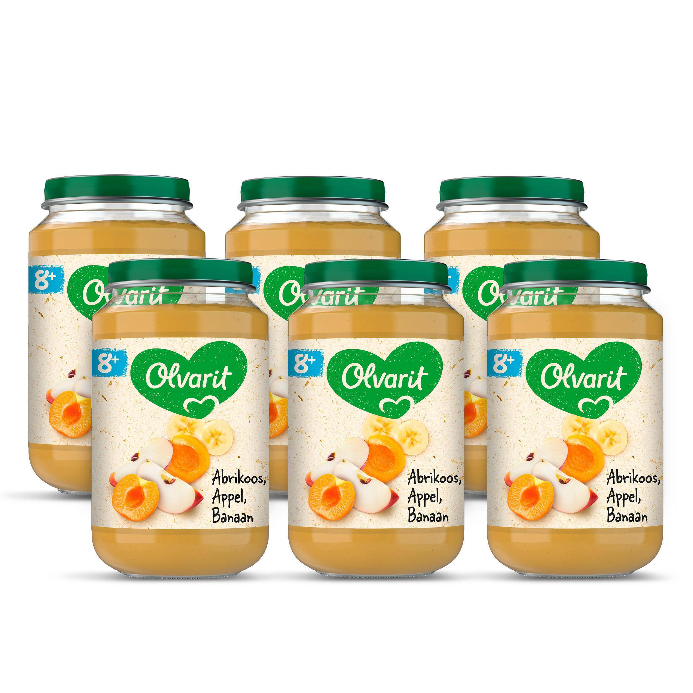 Olvarit babyvoeding abrikoos appel banaan 8+ mnd (6 x 200 gram)