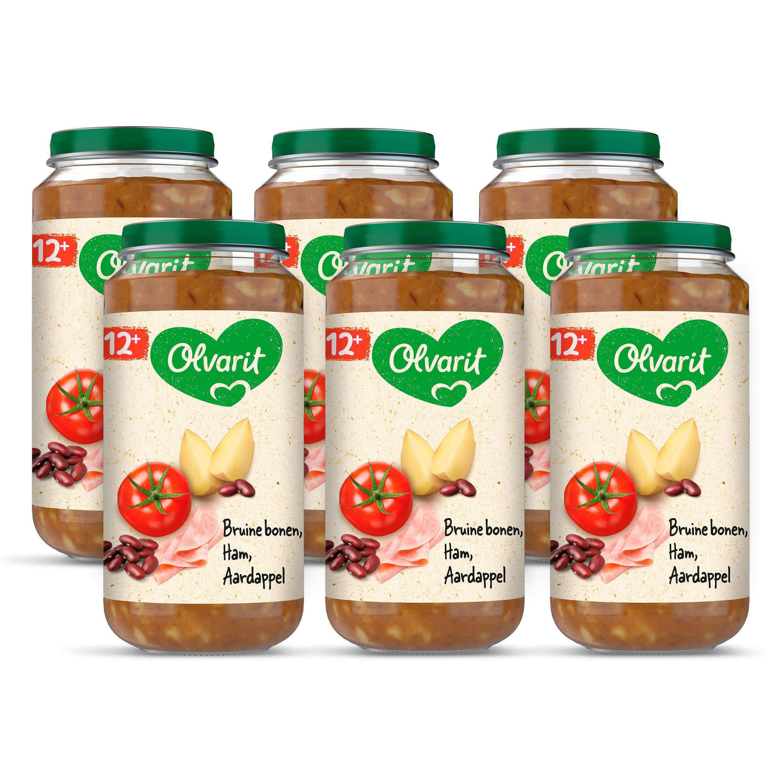 Olvarit babyvoeding bruine bonen ham aardappel 12+ mnd (6 x 250 gram)