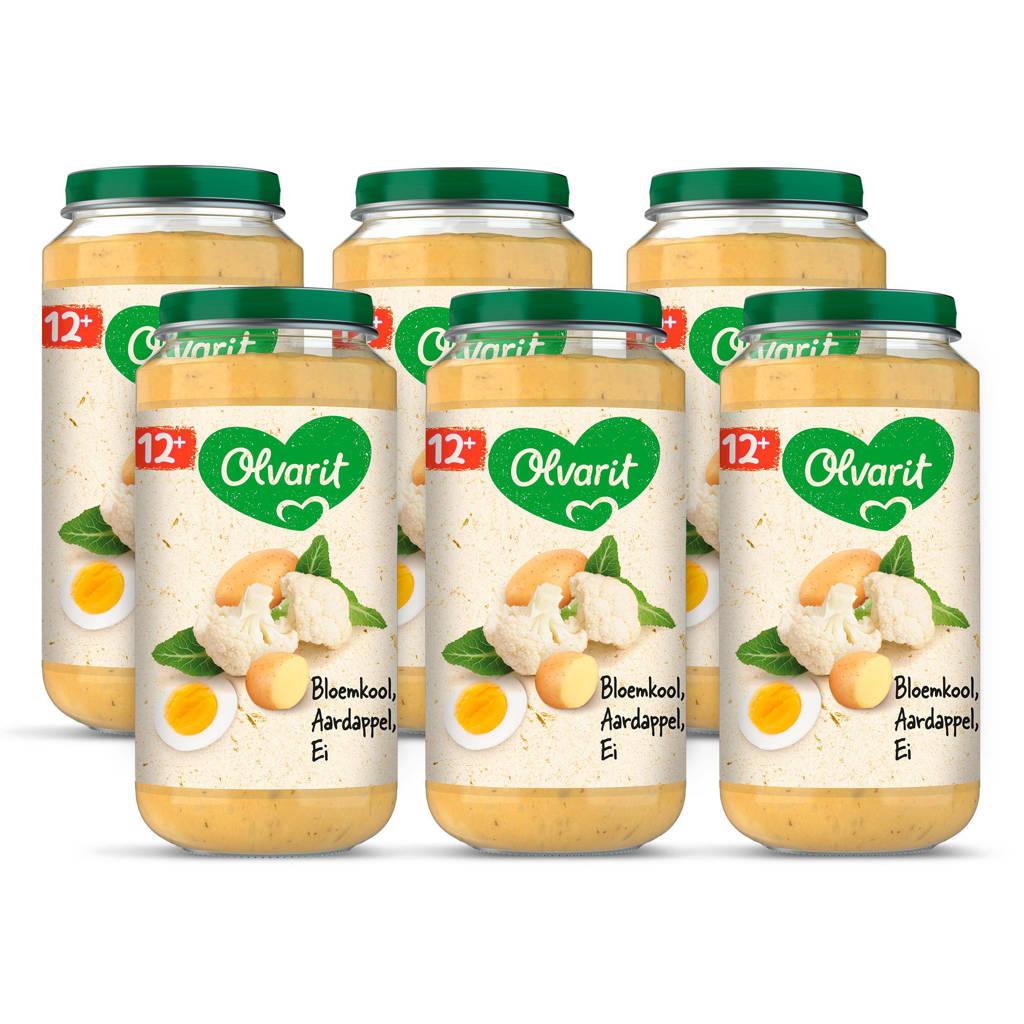 Olvarit Bloemkool Aardappel Ei - babyhapje voor baby's vanaf 12+ maanden - 6x250 gram babyvoeding in een maaltijdpotje