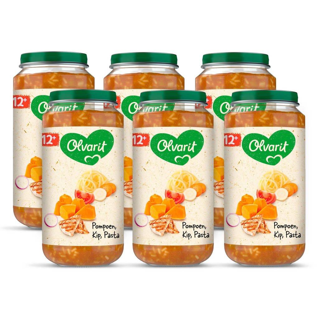 Olvarit babyvoeding pompoen kip pasta 12+ mnd (6 x 250 gram)