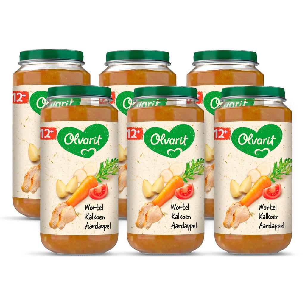 Olvarit babyvoeding wortel kalkoen aardappel 12+ mnd (6 x 250 gram)