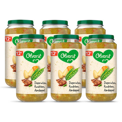 Olvarit babyvoeding doperwten rundvlees aardappel 12+ mnd (6 x 250 gram) kopen