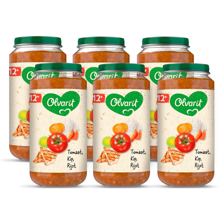 Olvarit tomaat kip rijst 12+ mnd (6 x 250 gram)