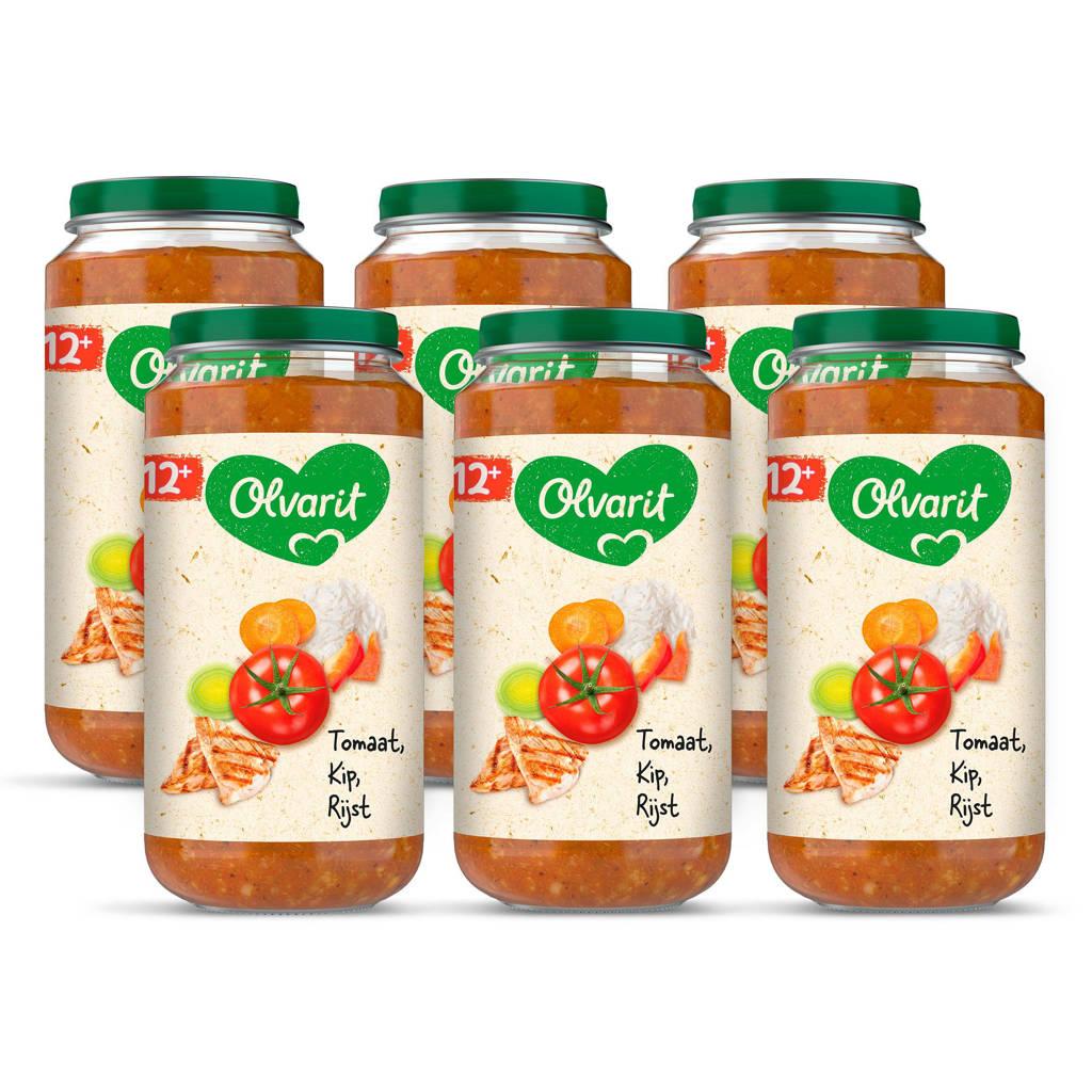 Olvarit Tomaat Kip Rijst - babyhapje voor baby's vanaf 12+ maanden - 6x250 gram babyvoeding in een maaltijdpotje