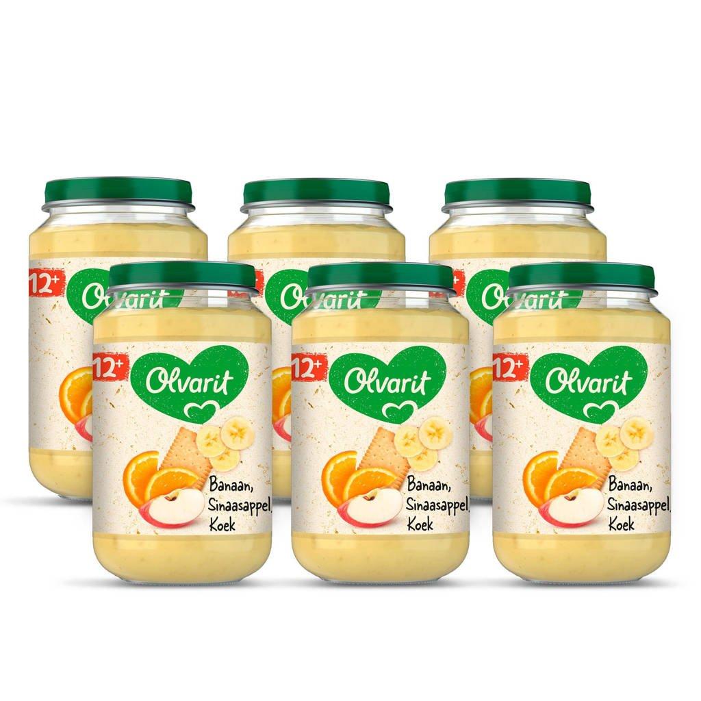 Olvarit Banaan Sinaasappel Koek - fruithapje voor baby's vanaf 12+ maanden - 6x200 gram babyvoeding in een fruitpotje