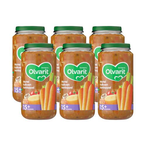 Olvarit babyvoeding wortel kalkoen aardappel 15+ mnd (6 x 250 gram) kopen