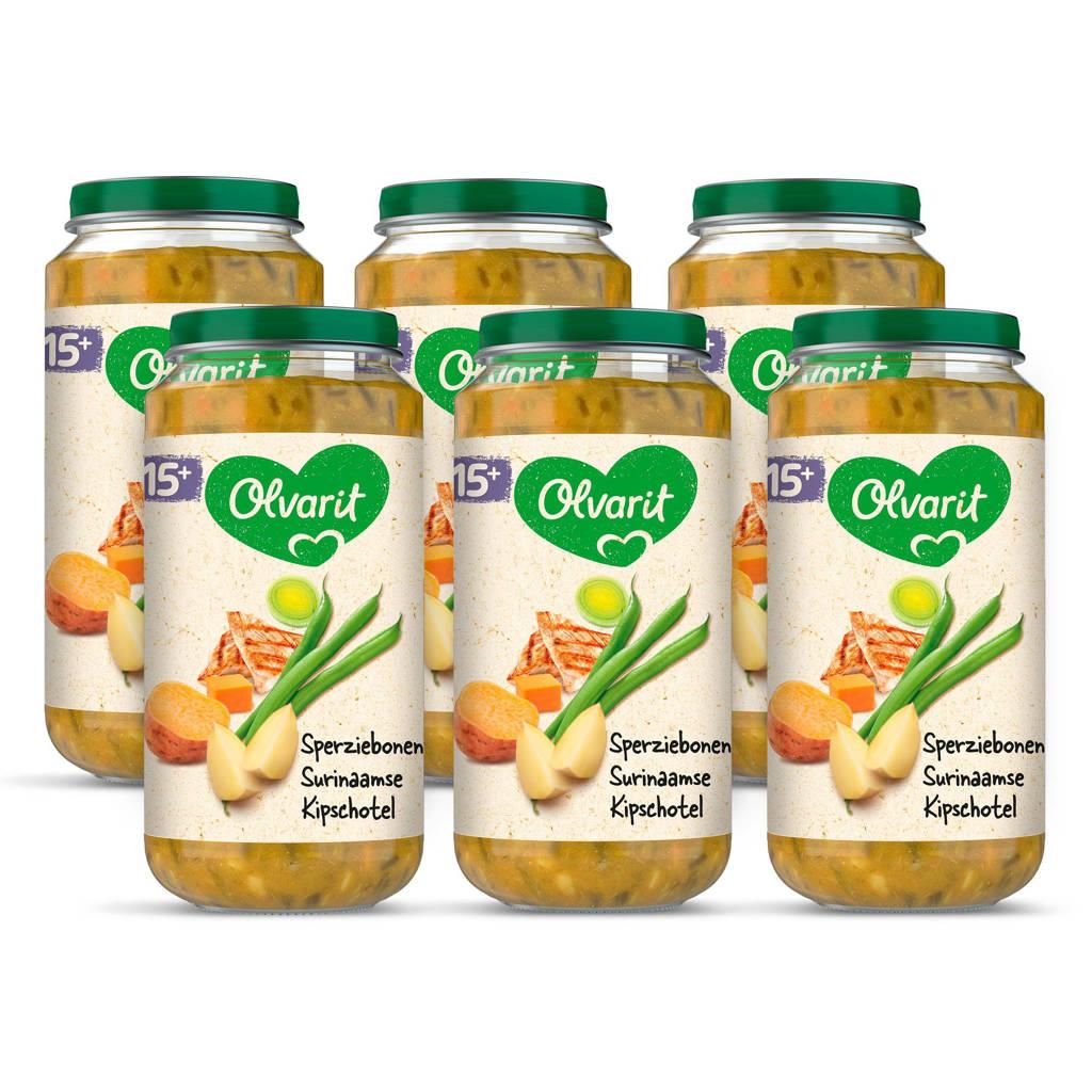 Olvarit Sperziebonen Surinaamse Kipschotel - babyhapje voor baby's vanaf 15+ maanden - 6x250 gram babyvoeding in een maaltijdpotje